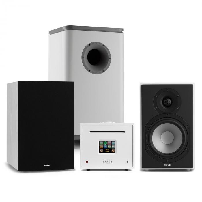 Unison Reference 802 Edition stereolaitteisto vahvistin kaiuttimet valkoinen/musta/harmaa