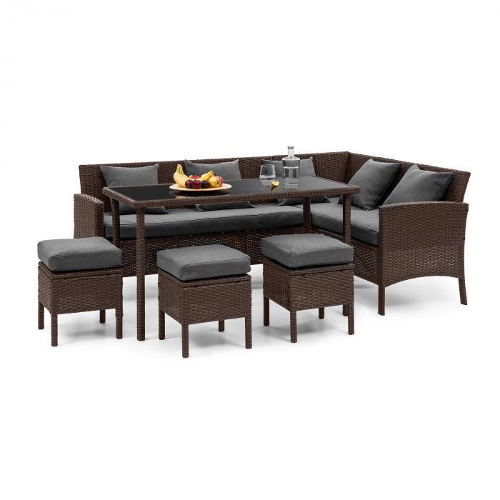 Titania Dining Lounge Set Conjunto de Jardim Marrom / Cinza escuro