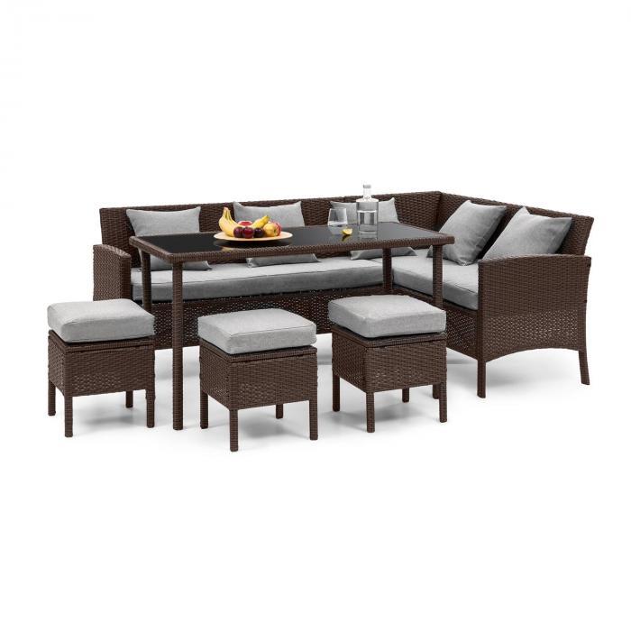 Titania Dining Lounge Set Conjunto de Jardim Marrom / Cinza claro