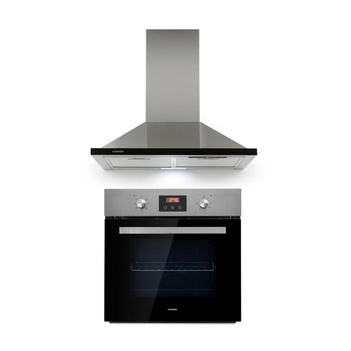 Kalahari Galina set da incasso forno + cappa aspirante nero acciaio inox