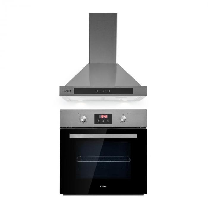 Kalahari Zelda Built-In Set Oven + Cooker Hood 68Ltr Stainless Steel