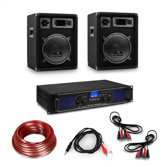 HiFi Amplifier & Box Set 3-Piece: Digital Amplifier, Speaker incl. Cables