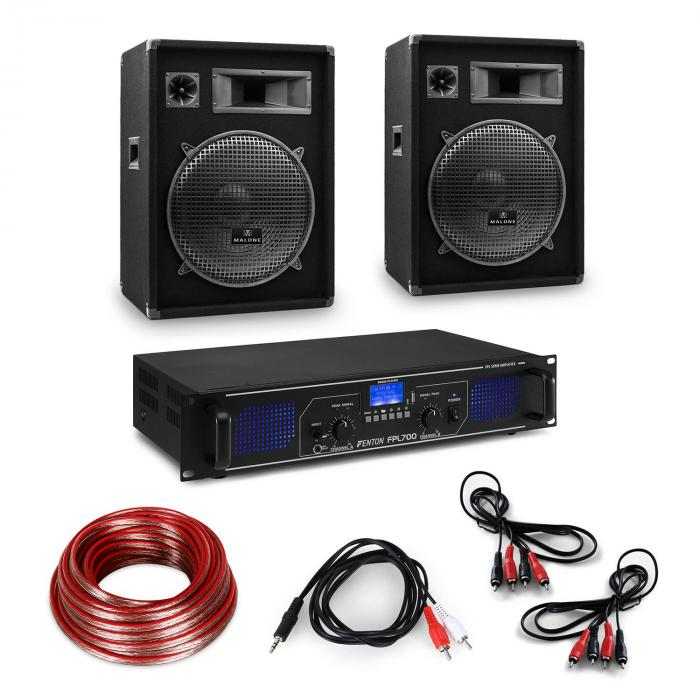 "HiFi Amplifier & Speaker Set | Amplifier 2 x 350W / 2 x Speaker 15"" 400W RMS"