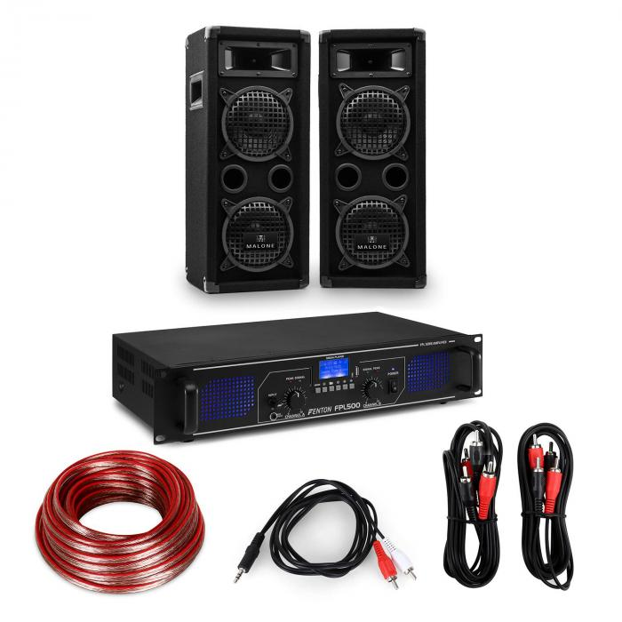 "HiFi Amplifier & Speaker Set | Amplifier 2 x 250W / 2 x Speaker 6.5"" 300W RMS"