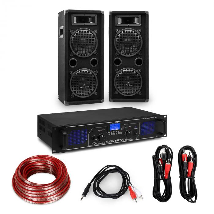 "HiFi Amplifier & Speaker Set | Amplifier 2 x 350W / 2 x Speaker 8"" 400W RMS"