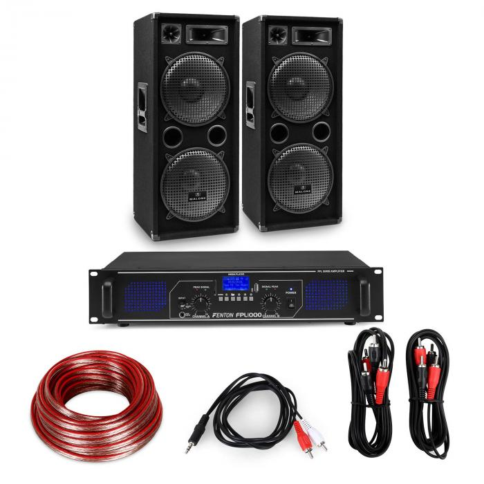 "HiFi Amplifier & Speaker Set | Amplifier 2 x 500W / 2 x Speaker 12"" 500W RMS"