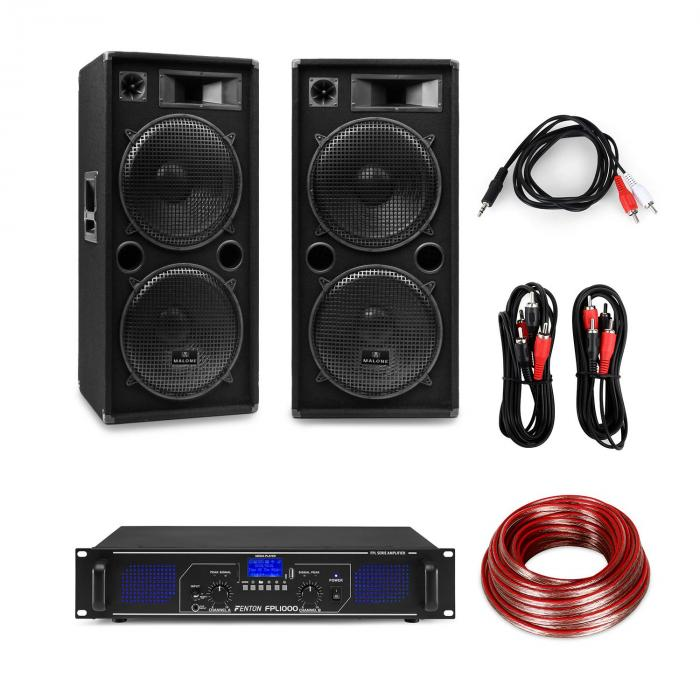 "eStar 15 Inch PA Party Set Digital Amplifier / 2x15"" 3-Way Speakers / incl. Cable"