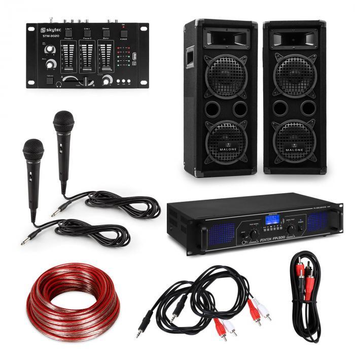 Electronic-Star eStar, zestaw DJ PA Hi-Fi, wzmacniacz, kolumny, pulpit mikserski, mikrofony, kable