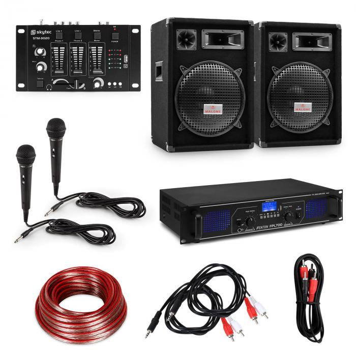 "HiFi DJ-PA Party Set Amplifier / 2 x 12"" Speakers / Mixer / 2 Microphones"