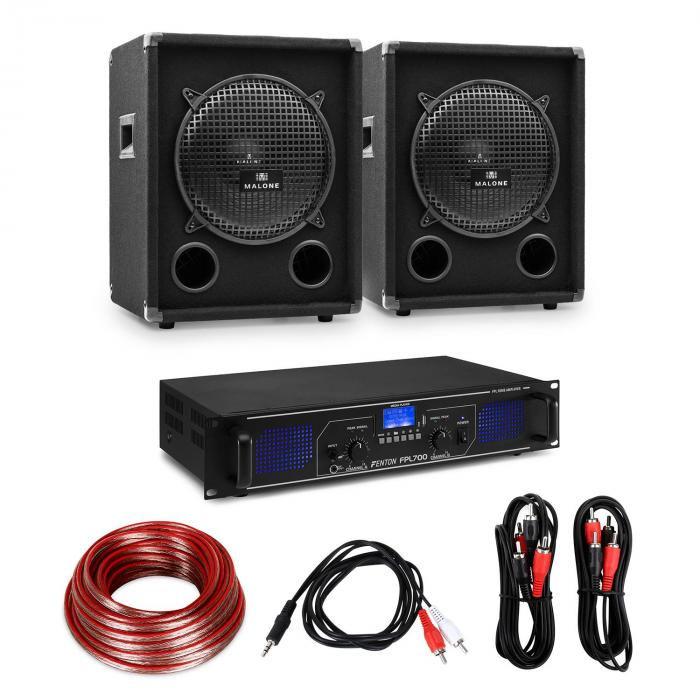 "HiFi Amplifier & Speaker Set | Amplifier 2x350W / 2 x Speaker 10"" 400W RMS"