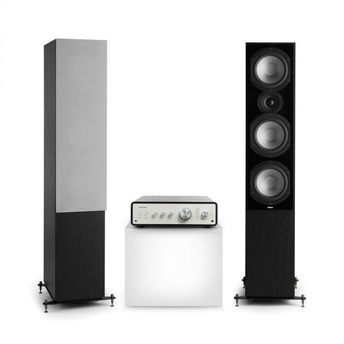 Numan Drive 801, zestaw stereo składający się ze wzmacniacza stereo i kolumn stojących, czarny/szary