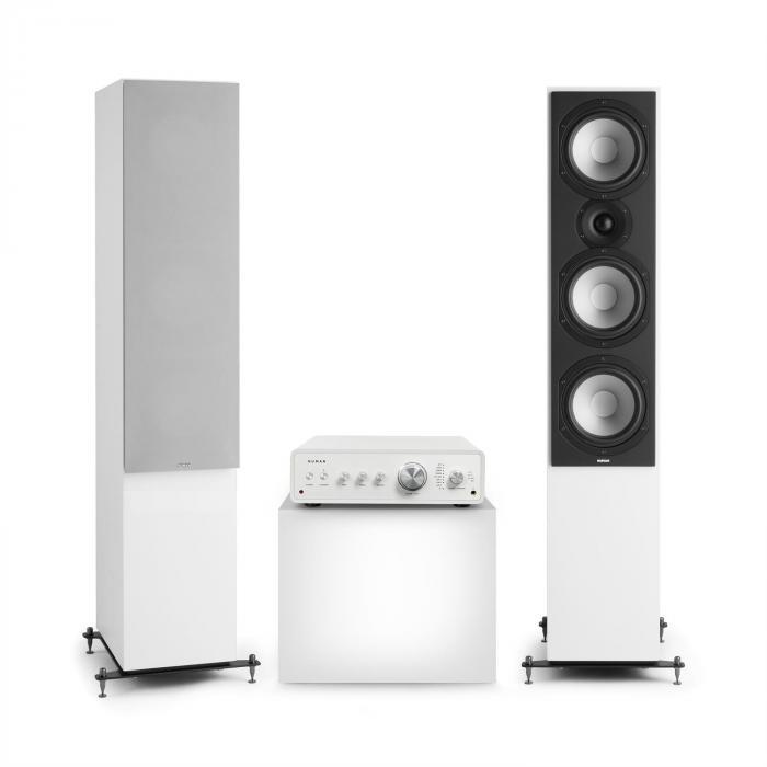 Numan Drive 801, zestaw stereo składający się ze wzmacniacza stereo i kolumn stojących, biały/szary