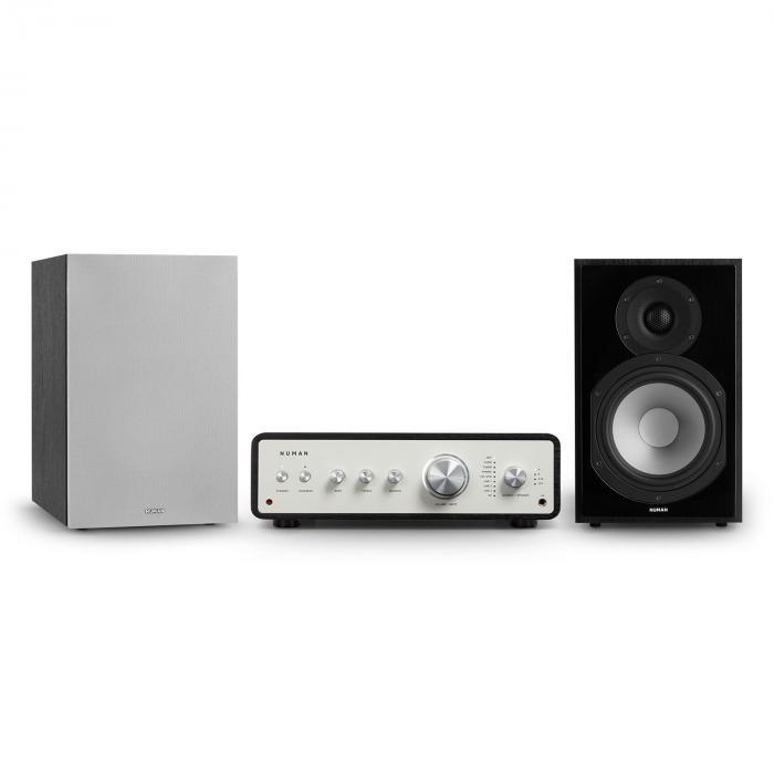 Numan Drive 802, zestaw stereo składający się ze wzmacniacza stereo i kolumn regałowych, czarny/szary