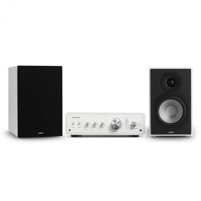 Numan Drive 802, zestaw stereo składający się ze wzmacniacza stereo i kolumn regałowych, biały/czarny
