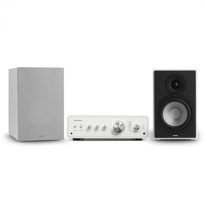 Numan Drive 802, zestaw stereo składający się ze wzmacniacza stereo i kolumn regałowych, biały/szary