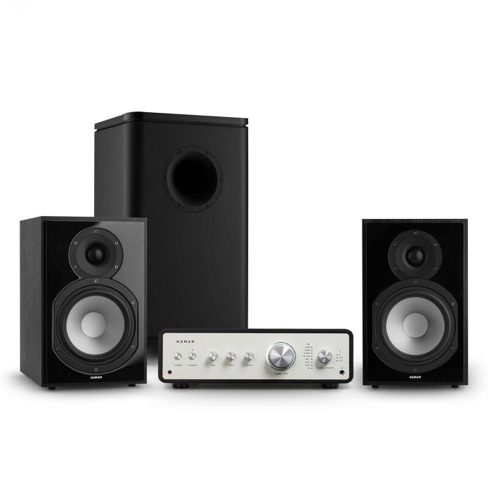 Numan Drive 802, zestaw stereo składający się ze wzmacniacza, kolumn regałowych i subwoofera, czarny