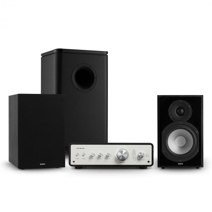 Numan Drive 802, zestaw stereo składający się ze wzmacniacza, kolumn regałowych, subwoofera i osłon, czarny