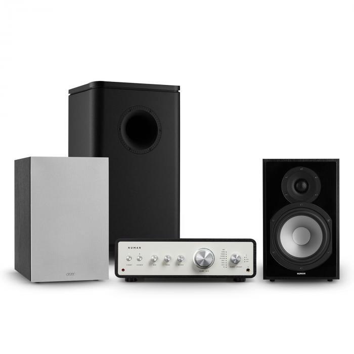 Numan Drive 802, zestaw stereo składający się ze wzmacniacza, kolumn, subwoofera i osłon, czarny/szary