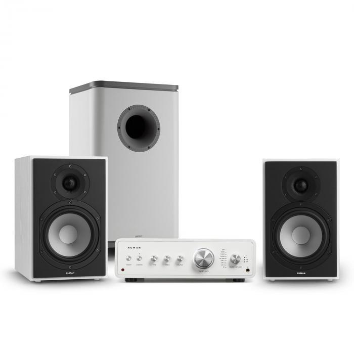 Numan Drive 802, zestaw stereo składający się ze wzmacniacza, kolumn regałowych i subwoofera, Bluetooth 5.0, biały