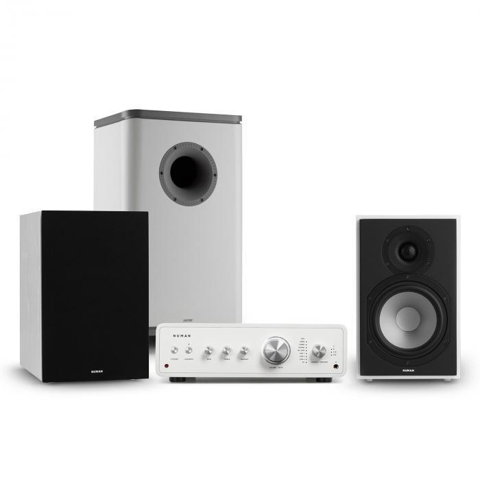 Numan Drive 802, zestaw stereo składający się ze wzmacniacza stereo, kolumn, subwoofera i osłon, biały/szary