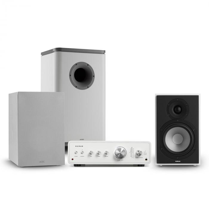 Numan Drive 802, zestaw stereo składający się ze wzmacniacza, kolumn, subwoofera i osłon, biały/szary