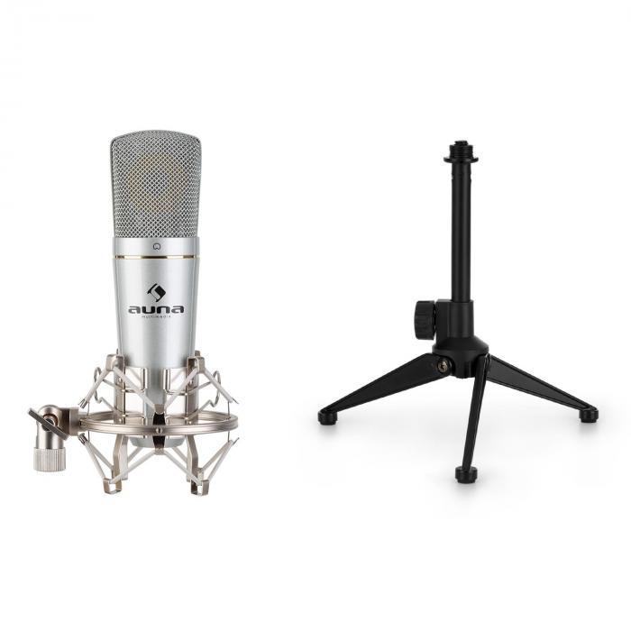 Auna MIC-920, zestaw mikrofonowy USB V1, mikrofon pojemnościowy i statyw mikrofonowy, srebrny