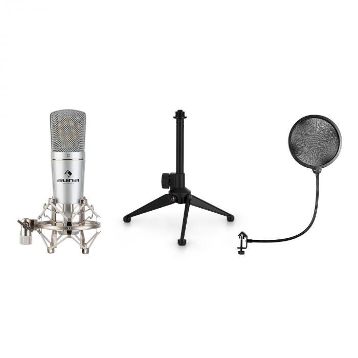 Auna MIC-920, zestaw mikrofonowy USB V2, mikrofon pojemnościowy, statyw, pop-filtr, charakterystyka kardioidalna