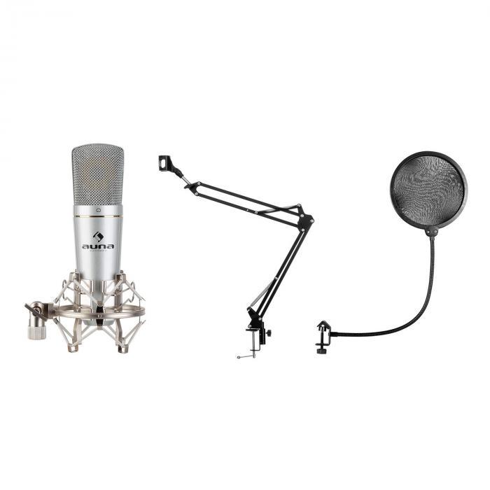 Auna MIC-920 USB, zestaw mikrofonowy V4, mikrofon, ramię obrotowe, pop filtr, torba ochronna