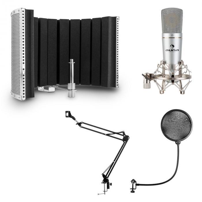 Auna MIC-920 USB, zestaw mikrofonowy V5, mikrofon, ramię obrotowe, pop filtr, osłona mikrofonowa/kabina akustyczna