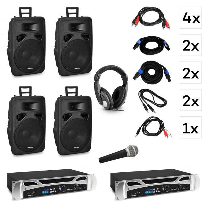 "Berlin Nights DJ System-Set | 2 x PA-Verstärker: 2 x 500 W | 4 x 2-Wege-Lautsprecher: 15"" (38cm) / 600 W / Titan-Dome-Horn | DJ-Kopfhörer | Handheld-Gesangsmikrofon | Bluetooth | LED-Display | USB-Port | SD-Slot | Line-Eingang"