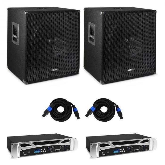 Vonyx Bass Storm, zestaw nagłośnieniowy dla DJ'a, 2 x wzmacniacz nagłośnieniowy 500 W, 2 x subwoofer nagłośnieniowy 600 W