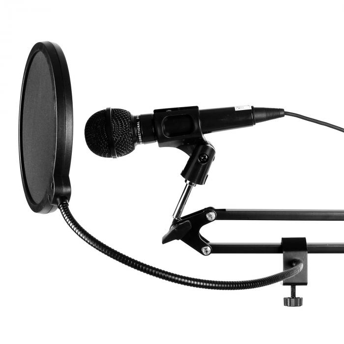 MIC-900S-LED Set Microfono USB V4 Condensatore Anti-Pop LED Braccio argento