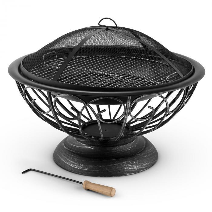 Tulip tulisija Ø 75 cm grilli kipinäsuoja mustattua terästä