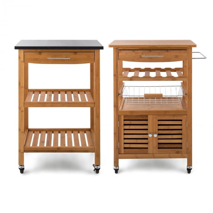 Tennessee tarjoiluvaunu keittiövaunu trolley 3 kerrosta bambu graniitti