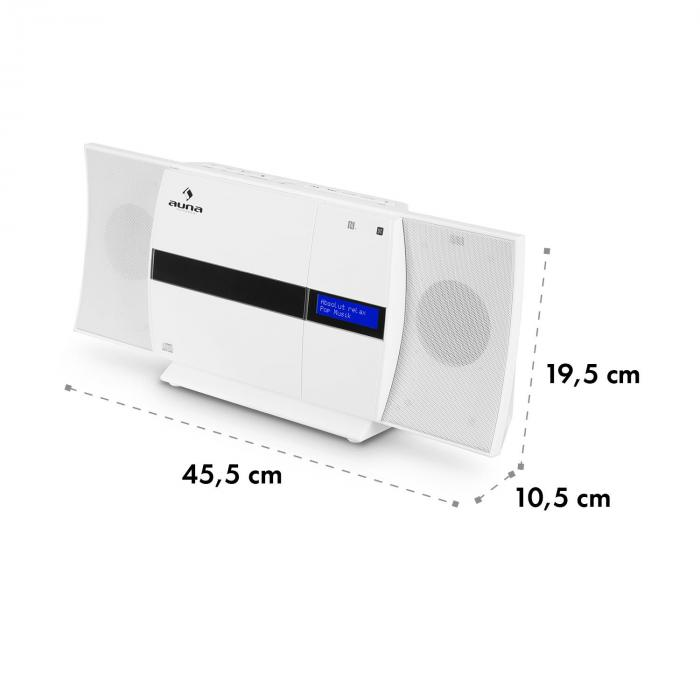 V-20 DAB Impianto Stereo Verticale Bluetooth NFC CD USB MP3 DAB+ bianco