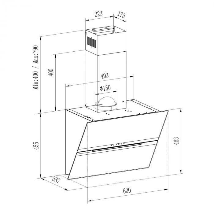 Sancta Clara 60 liesituuletin 60 cm 620m³/h liitutaulu lasi musta