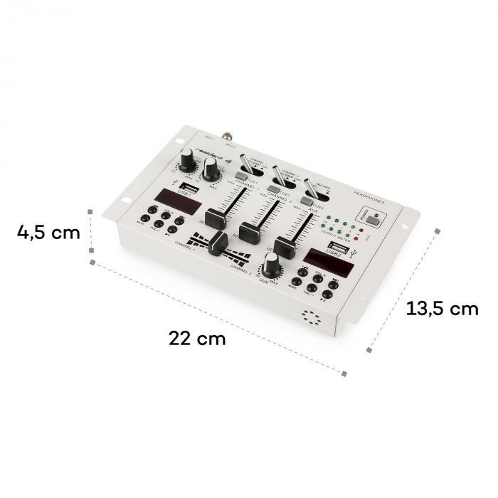 22BT 2CH Mixer 3/2-Channel DJ Mixer 2 x USB 3 x 6.3 Jack White