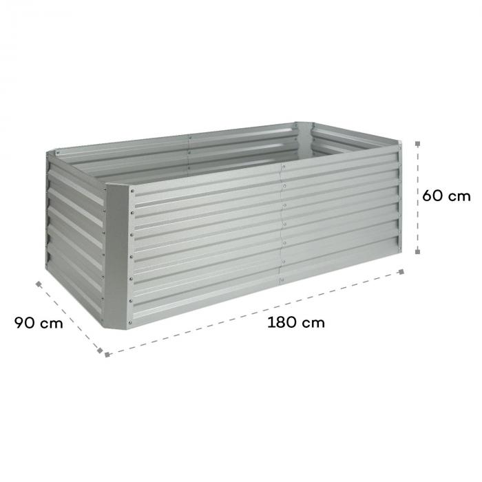 High Grow Straight Hochbeet 180x60x90cm 970l Stahl Verzinkt Silber