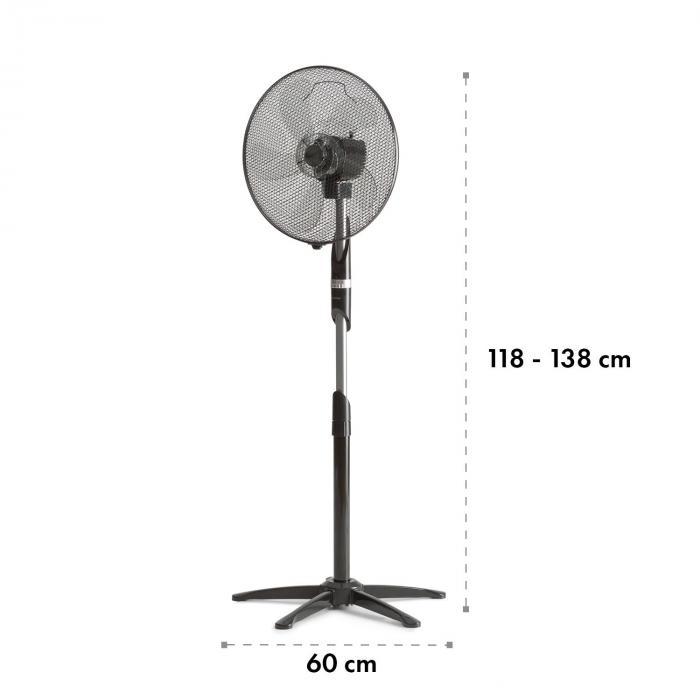 "Summer Vibe staande ventilator 16"" 55W 2040m³/h oscillatie 65° zwart"