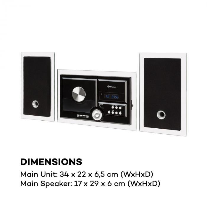 Stereosonic Equipo estéreo Montaje en pared Reproductor de CD USB BT Negro