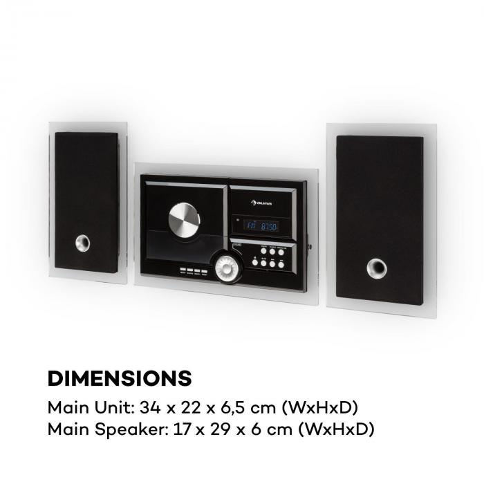 Stereosonic Stereo System, Wandmontage, CD-Player, USB, BT, schwarz