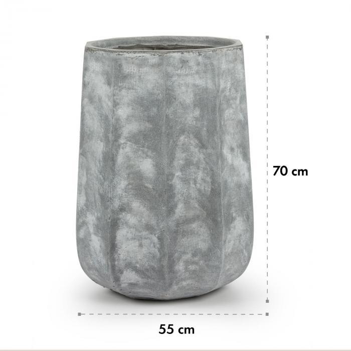 Decaflor Pflanztopf 55 x 70 x 55 cm Fiberglas In-/Outdoor hellgrau