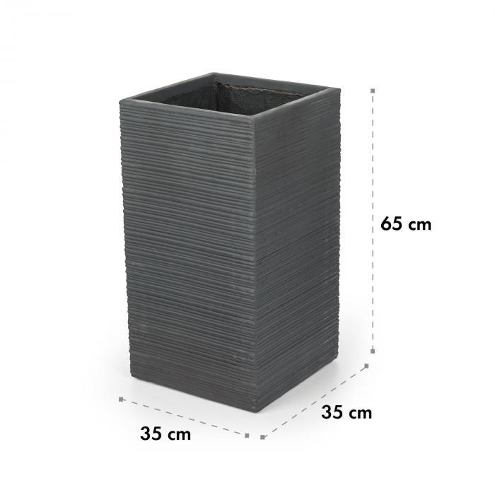 Luxflor kukkaruukku 35 x 65 x 35 cm lasikuitu sisä-/ulkokäyttöön tummanharmaa