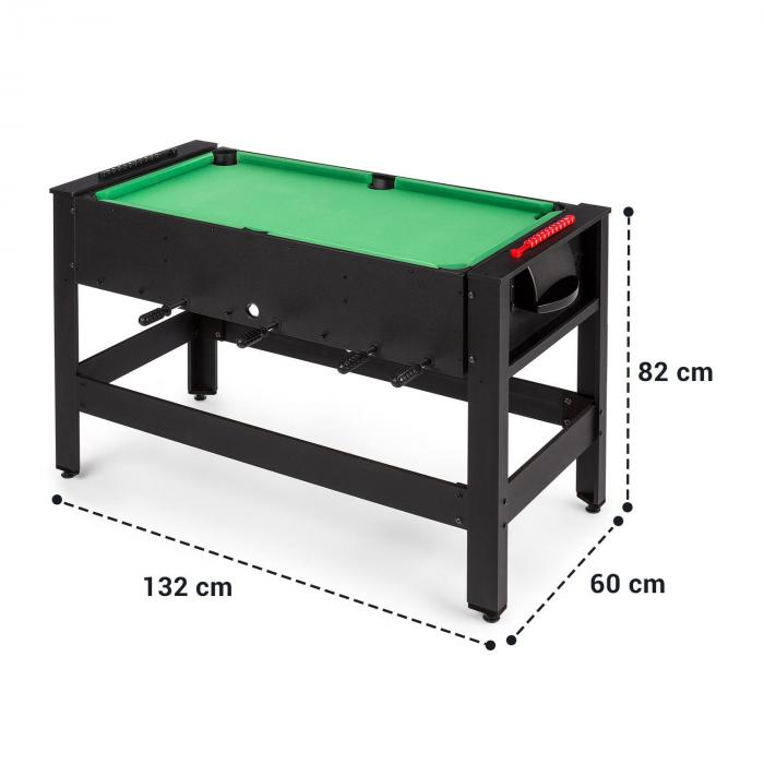 Spin 2-in-1 Play Table Billiard Kicker 180 ° Rotatable Game Accessories Black