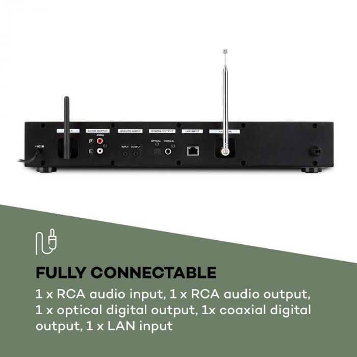 iTuner 320 BT digitaalinen HiFi-radio Spotify Connect BT App-Control musta