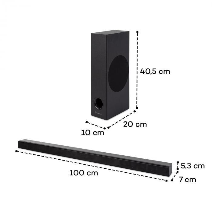 Areal Bar 750 2.1 -äänijärjestelmä soundbar 120 W RMS-teho BT USB musta