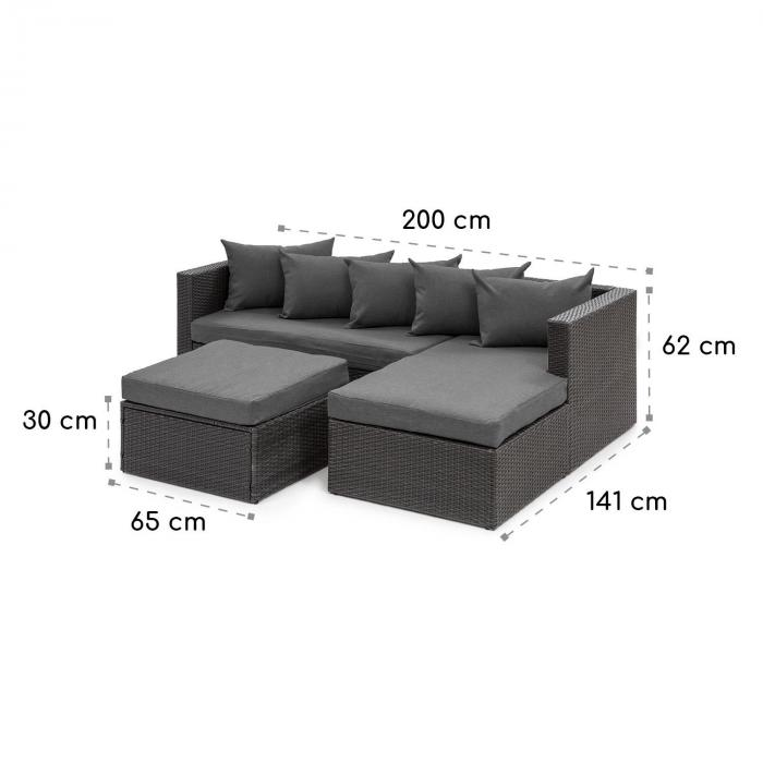 Theia Lounge Set Conjunto para Jardim preto / cinza escuro