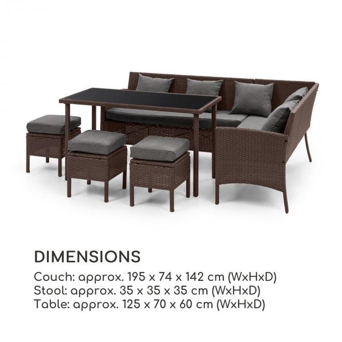Blumfeldt Titania Lounge Salon de jardin complet polyrotin marron ...