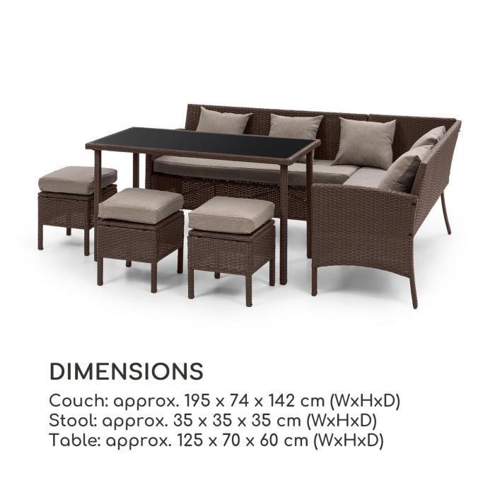 Titania Dining Lounge Set Conjunto de Jardim Marrom / Marrom