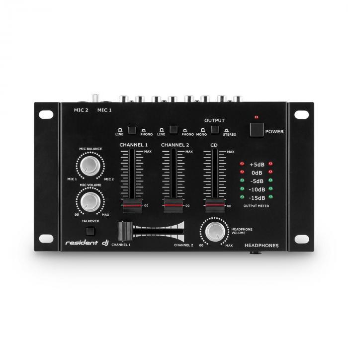 PA-setti Mannheim 7-osainen DJ-setti 2x 3-tie-boxksi vahvistin sekoituspultti